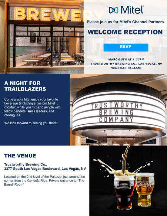 Register for Mitel's Welcome Reception Channel Partners Conference & Expo Las Vegas