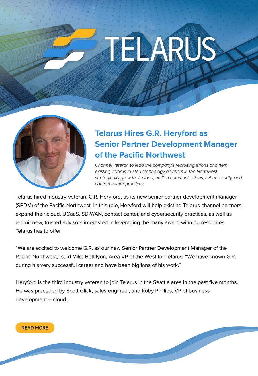 Telarus Hires G.R. Heryford as Senior Partner Development Manager of the Pacific Northwest