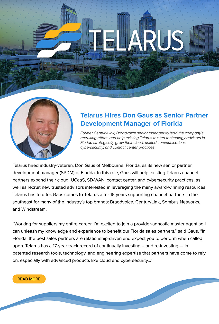Telarus Hires Don Gaus as Senior Partner Development Manager of Florida