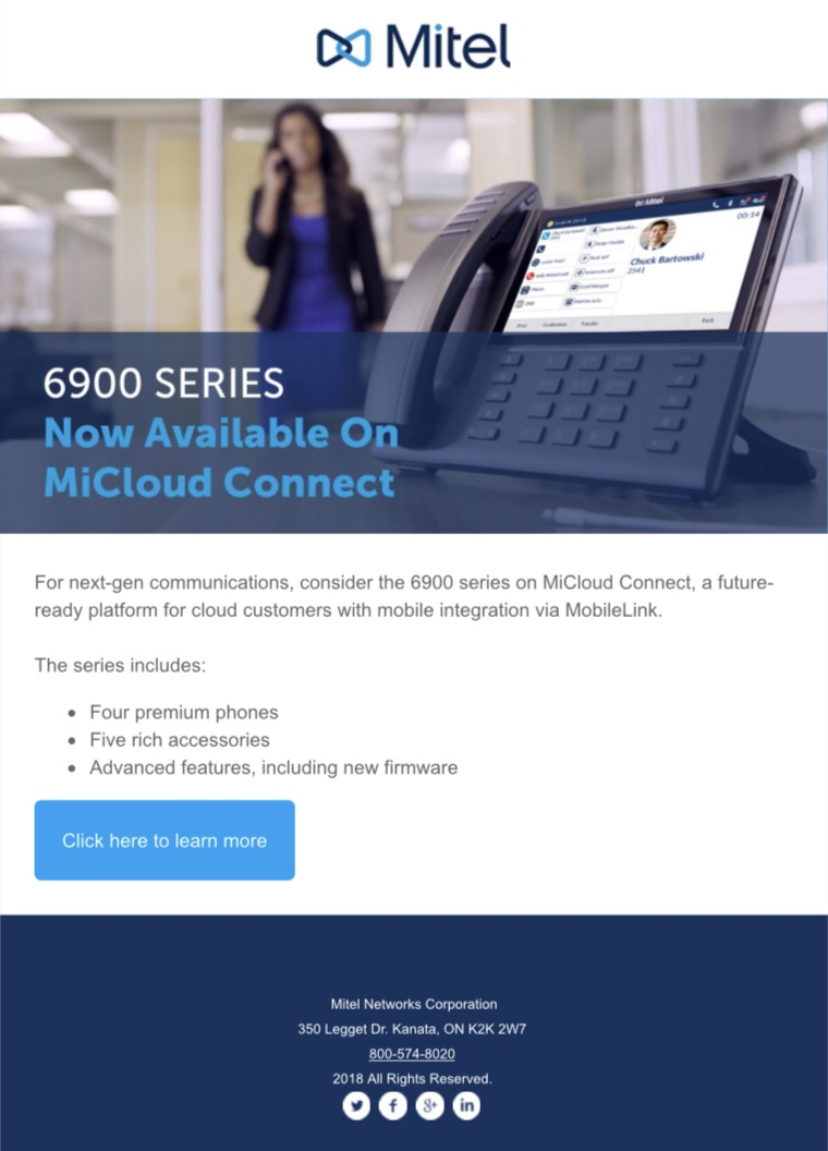 Mitel's 6900 Series Now Available On MiCloud Connect