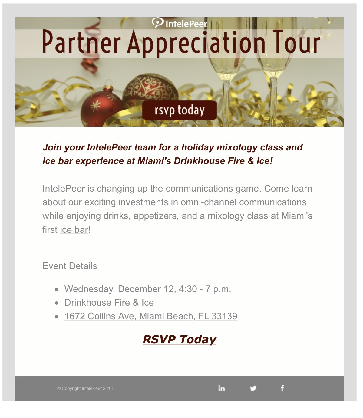 IntelePeer Partner Appreciation Tour | Wed, Dec 12th | Miami